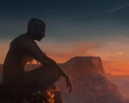 Old soul - meditating alone sunset