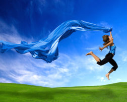 Happiness Woman jumping